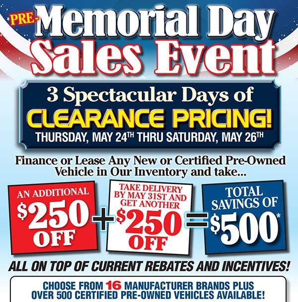 Pre-Memorial Day Sales Event